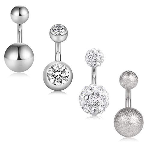 Acefun 4 pezzi piercing all'ombelico in titanio piercing all'ombelico anello con ombelico in acciaio inox corpo ombelico pancia ombelico piercing
