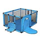 Laufgitter Baby Tragbarer Spielplatz Playpens Für Jungen, Korb Design Kleinkind-Sicherheit Schutzzaun Mit Tür Innen Spielplatz- Blau (größe : 120x100cm)