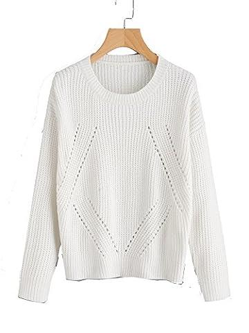 ROMWE Sweater Pull femme Ajourée matériel