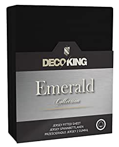 DecoKing 17791 Spannbettlaken 160 x 200 - 180 x 200 cm Jersey 100% Baumwolle Boxspringbett Spannbetttuch Emerald Collection, schwarz