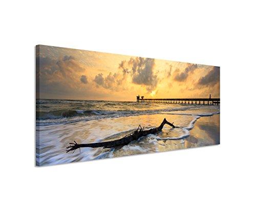 Panoramabild 150x50cm Landschaftsfotografie – Aufziehender Sturm am Strand auf Leinwand exklusives Wandbild moderne Fotografie für ihre Wand in vielen Größen