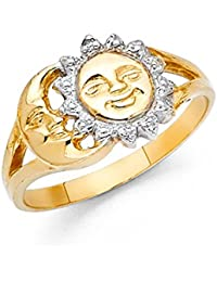 14 K Solid Oro Sol y Luna Mujeres Fancy anillo