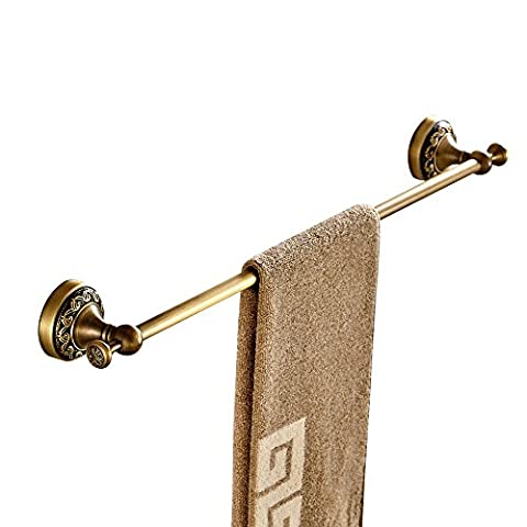 Weare Home Single Towel Bar Towel Holder Hanger Brass Construction Antique Brass Finished Wall Mounted Bathroom Accessories Retro Vintage