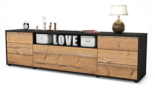 Stil.Zeit TV Schrank Lowboard Beatrice, Korpus in Anthrazit Matt/Front im Holz-Design Pinie (180x49x35cm), mit Push-to-Open Technik und Hochwertigen Leichtlaufschienen, Made in Germany