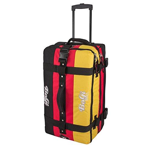 BoGi Bag Reisetasche Rollkoffer Reisekoffer Deutschland Koffer, 72 cm, 85 L, Schwarz/Rot/Gold