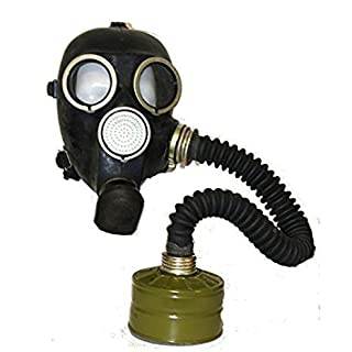 OldShop Gas Mask REPLICA Gp-7 Russian USSR Military Rubber With All Equipment: Mask, Hose, Filter, Anti-fog Stickers, Small Membranes Color Black | Size: L (3Y)