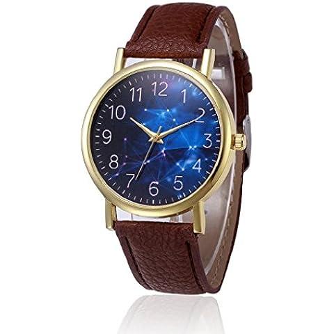 Sannysis Reloj de pulsera banda de cuero (Marrón)