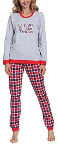 Cornette Damen Schlafanzug 671 2016 (Melange/Rot/Navy (Winter), XL) (Set Capri-baumwoll-pyjama)