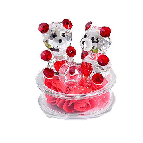 qianyue Rose Blume Crystal Glass Tiere Bär Figuren Ornamente Weihnachten Home Auto Dekoration Parfüm Flasche Feng Shui Begriff Geschenk (rot) (Für Handwerk Klar-glas-ornamente)