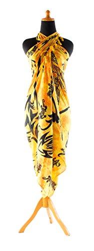 Riesen Auswahl - Sarong Pareo Wickelrock Strandtuch Tuch Wickeltuch Handtuch - Blickdicht - Handbedruckt inkl. Schnalle in Herzform Gecko Orange Gelb Batik