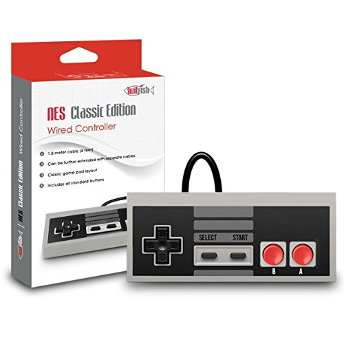 NES Classic Edition Controller - TwitFish Retro GamePad (Old-Skool Grey), 1.8M / 6FT Classic Wired Game Controller for use with NES Classic Edition 2016