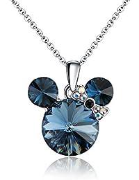 Hermoso (Luckly Mouse Pendentif Collier pour Femme, fait avec cristal de  Swarovski, plaqué platine Bijoux Chaîne… 2fa0d4694c68