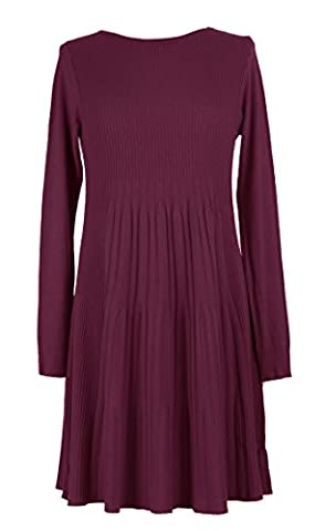 Ladies Womens Lagenlook Quirky Long Sleeves Ribbed Pattern Knit Swing Tunic Dress Winter One Size UK 8-16 (One Size, Burgundy)