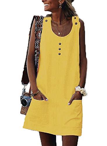 AitosuLa Sommerkleid Damen Ärmellos Strandkleid Minikleider Casual Kurze Trägerkleid Verstellbare Button Tank Kleider Und Taschen (Gelb, S) -