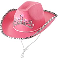 Blinking Child Cowgirl Hat (Pack Of 2) Pink Princess Light Up Hat, With Blinking Tiara And Neck Draw String, Fits Most Small Girls, For Dress-Up Parties And Play Costume