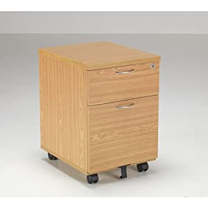 BiMi 2 Draw Under Desk Mobile Pedestal In Oak
