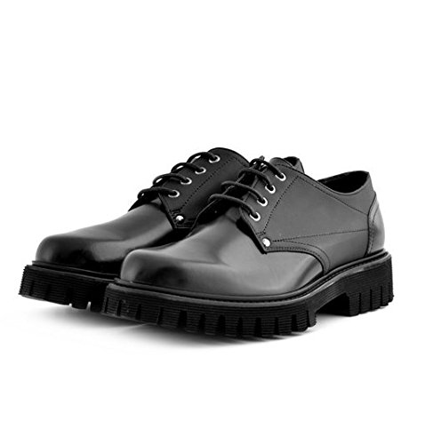 Scarpe stringate Soldini uomo numero 44 19635NERO, pelle nere, man shoes black leather fondo gomma carrarmato