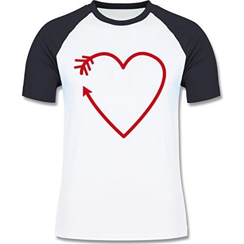 Romantisch - Herz Pfeil - zweifarbiges Baseballshirt für Männer Weiß/Navy Blau