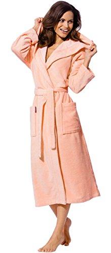 Morgenstern Bademantel mit Kapuze für Damen, Größe M, Farbe apricot, Größen XS bis XL verfügbar, kuschelige Außenseite, gut wasseraufnehmende Innenseite