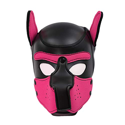 Duzzy Leder Vollmaske Puppy Mask Gepolsterte Welpenhaube Hund Welpe Kapuze Abnehmbarer Mund Kostüm Party Cosplay Unisex L