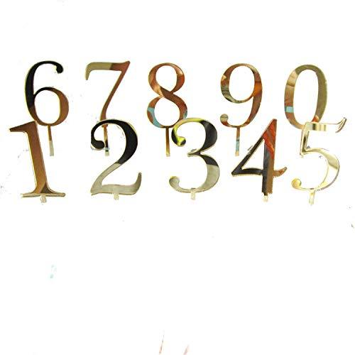 (1 Stück Gold Silber Rot Zahl 0123456789 Geburtstag Kuchen Topper Acryl Golden Kinder Geburtstag Jahrestag Party Dekoration Gold Numer 9)