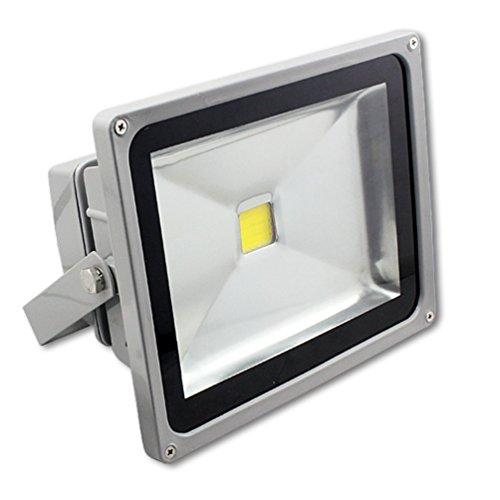 MCTECH Grau 50W Warmweiß 2500~3000K LED Fluter Lampe Strahler Scheinwerfer Licht Wasserdicht IP65 4500-5000 Lumen 230V Aluminium (Warmweiß)