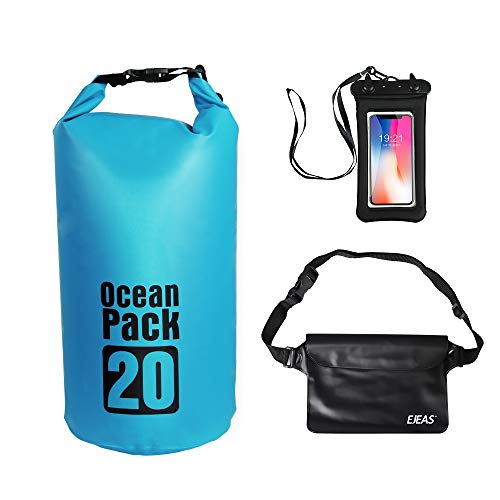 EJEAS Waterproof Dry Bags 3er-Set - Packsack & Abnehmbarer Verstellbarer Schultergurt, Gürteltasche & Handytasche - Kann für Wassersport, Kajak, Rafting & Bootfahren in Wasser getaucht Werd -