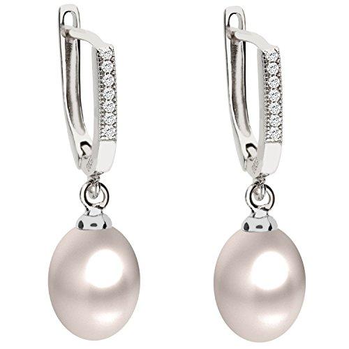 Träne Swarovski-kristall-perlen (MYA art Premium Damen Perlenohrringe Creolen 925 Silber mit Zuchtperlen Zirkonia Tropfen Oval Perlen Weiß Ohrringe Hängend MYASIOHR-110)