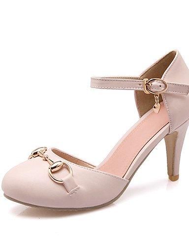 WSS 2016 Chaussures Femme-Habillé-Noir / Rose / Blanc / Amande-Talon Aiguille-Talons / Bout Ouvert-Talons-Similicuir pink-us7.5 / eu38 / uk5.5 / cn38