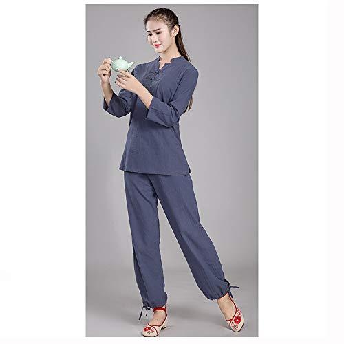Tai Chi Anzug Baumwolle Und Leinen Meditation Yoga Kleidung Männer Und Frauen üben Kleidung Anzüge Anzüge,FemaleGray-XXXXL