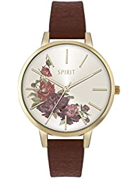 Spirit Ladies Analogue Round Gold Floral Dial With Brown Pu Strap