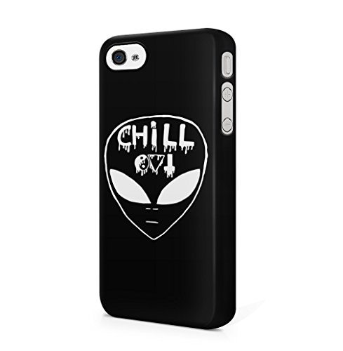 Chill Alien Space Trippy Tumblr Black iPhone 4 / 4S Hard Plastic Phone Case Cover