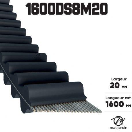 Courroie 20 mm x 1600 mm 1600DS8M20 pour Castel Garden Honda Husqvarna Double Denture