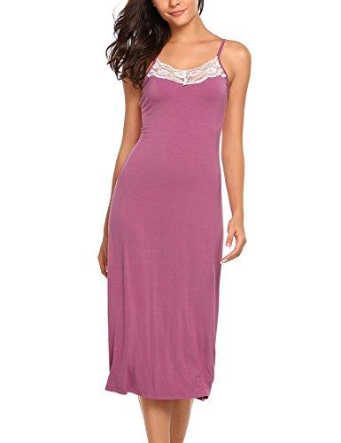 ADOME Damen Nachthemd Sleepwear sexy Ärmellos Verstellbarer Träger Nachtkleid Nachtwäsche Rückenfrei mit Spitze, Violett137, EU 38(Herstellergröße: M)