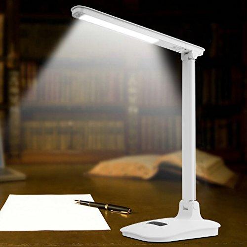 Tonffi LED Tischlampen 5W weiss Schreibtischlampe dimmbar mit USB anschluss für Kinder