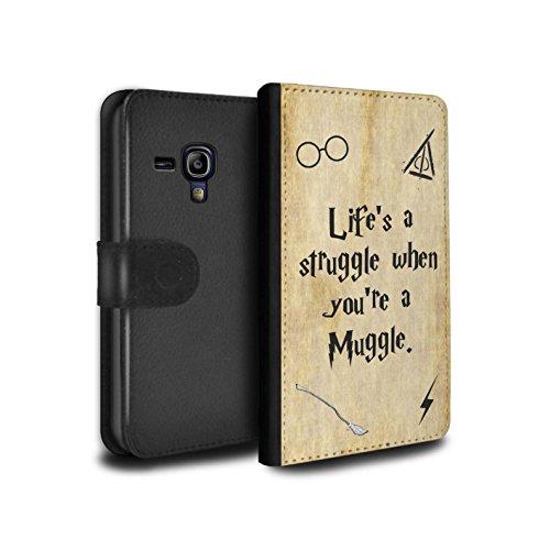 Stuff4® PU-Leder Hülle/Case/Tasche/Cover für Samsung Galaxy S3 Mini/Life's a Struggle Muster/Schule der Magie Film Zitate Kollektion