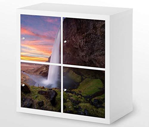 Wasserfall Schublade (Set Möbelaufkleber für Ikea Kallax 4 Fächer/Schubladen Wasserfall Island schöne Kat10 Landschaft Aufkleber Möbelfolie sticker (Ohne Möbel) Folie 25H743)