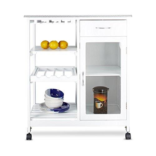 Relaxdays Küchenwagen HxBxT: 88 x 76 x 48 cm mobiler Küchentrolley aus Holz mit 4 Rollen und 3...