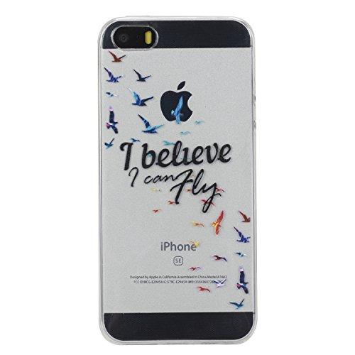 Voguecase® Pour Apple iPhone 5 5G 5S SE, TPU avec Absorption de Choc, Etui Silicone Souple, Légère / Ajustement Parfait Coque Shell Housse Cover pour iPhone 5 5G 5S SE (Note D'amour 03)+ Gratuit style I believe