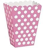 "Treat Boxes 5-1/2""X3-3/4"" 8/Pkg-Hot Pink Decorative Dots"
