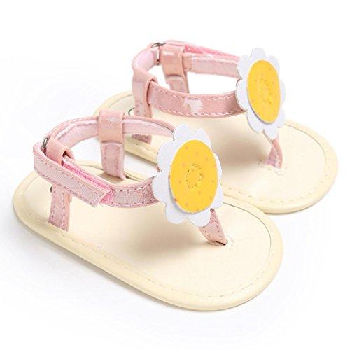 Pour 0-18 mois Bébé,Transer ® Les bébés filles fleur douce semelle tongs anti-Slip Bohemia Flat sandales Rose