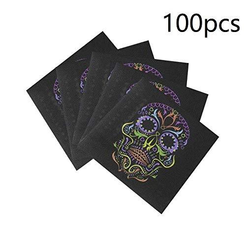 (Kodoria 100-Pack Schädel Serviette Getränke Servietten Einweg Papierservietten Party für Halloween Thema Party Dekoration Favor Supplies (Skull))