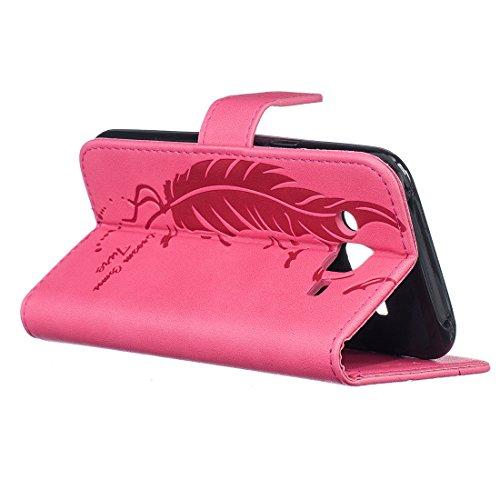 iPhone 5/SE/5S Coque , Lotuslnn Apple iPhone 5/SE/5S Cuir Etui Housse Bleu marine plume rose plume