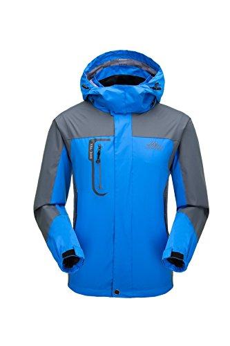 Giacca da uomo traspirante impermeabile con cappuccio, sport all' aria aperta giacca antivento softshelljacken (blu, xl)