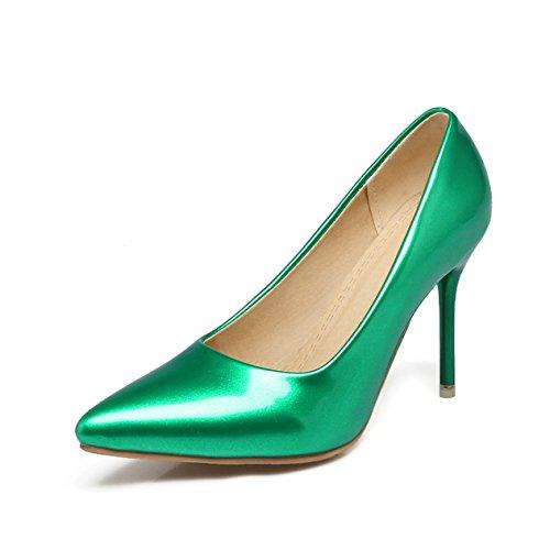 Damen Pumps Slip On Spitz Zehen Lackleder Niedrige High Heels Anti-Rutsche Stilettos Einfache Elegant Arbeitsschuhe Grün
