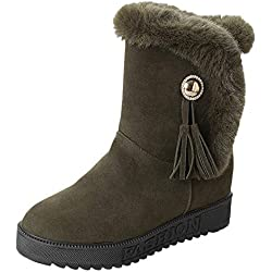 Botas Mujer Invierno, BBestseller Las Mujeres de Invierno cálido Botas Nieve Planas Terciopelo Zapatos de Tobillo Botas Sport (36, Verde)