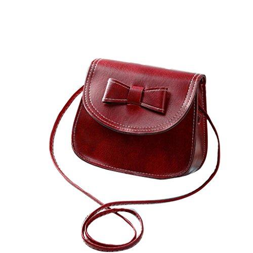 Vovotrade messenger bag di spalla delle donne di Bowknot Borsa in pelle (Nero) Vino