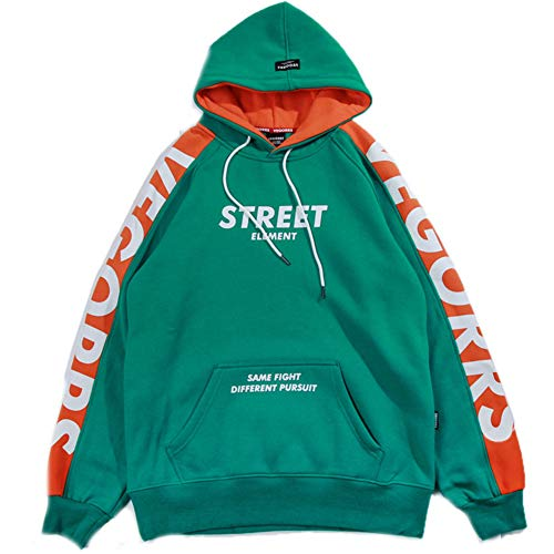 Mens Long Sleeve Sweatshirts Unisex Hoodie Casual Plus Velvet Hoodie Print Clothes The Same Style with Yifan Wu,Green,L (Pullover Wool Crewneck Green)