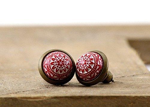 Kleine orientalische Ohrstecker Ornamente Mosaik Stern rot weiss -