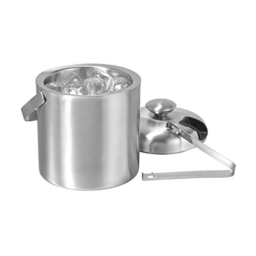 axentia Eiseimer 1,3 Liter silber, doppelwandiger Eisbehälter mit Zange, kälteisolierender Eiswürfelbehälter